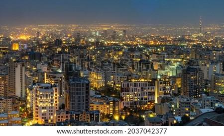 Teheran at night from the mountains Stock fotó ©