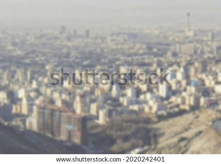 Teheran city in iran aerial view - Blur background concept for travel theme Stock fotó ©