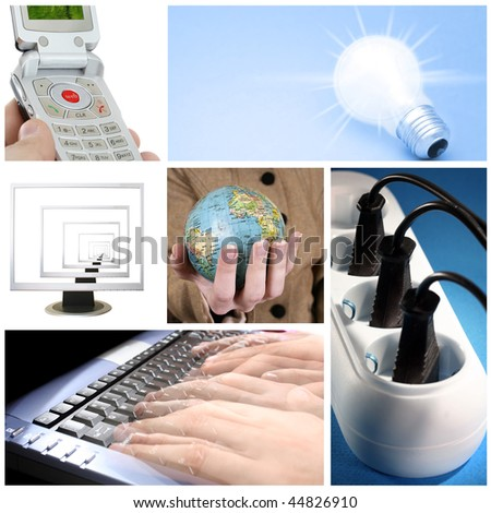 Tehnology collage: light bulb, keyboard, outlet,  cell phone, computer monitor and world globe. - stock photo