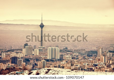 Tehran skyline with panoramic view of the city. Stock fotó ©