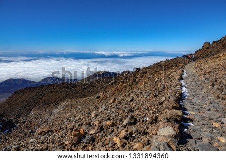 Teide touristic route and rear view of many tourists trekking #1331894360