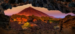 Teide volcano in Tenerife as seen from the grotto at sunrise