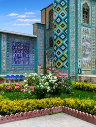 Tekiyeh Moaven ol-Molk ( Tekieh Moaven ) built in 1897 in Kermanshah.The structure is known for its dramatic and colorful tile mosaic panels.