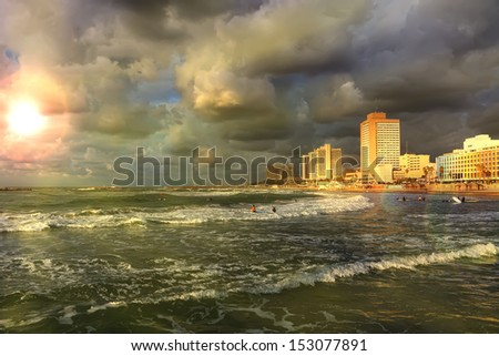 Tel-Aviv beach sunset view (Mediterranean sea. Israel)