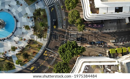 Tel Aviv city square, Drone photo, Landscape Skyline. city life Israel TLV  Stock fotó ©