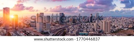 Tel Aviv Cityscape Aerial View At Sunset, Israel Stock fotó ©