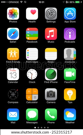 TEL AVIV FEB 13 2015 High resolution Built in Apple iOS 8 icons on iPhone 6 6 Plus isolated on black and ready to cut and use illustrative editorial