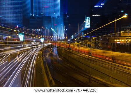 Tel aviv high way at night with dynamic focus  #707440228