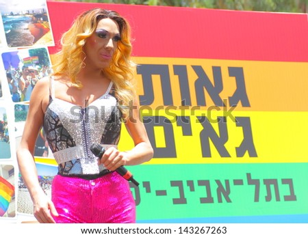 TEL AVIV , ISRAEL - JUNE 07  An unidentified drag queen during the opening of the annual Gay pride in Tel Aviv on June 07 2013