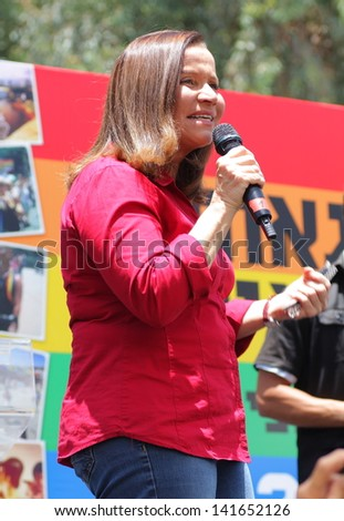 TEL AVIV , ISRAEL - JUNE 07 : Israeli Opposition leader and leader of the Israeli Labor Party Shelly Yachimovich makes speech during the opening of the annual Gay pride in Tel Aviv on June 07 2013