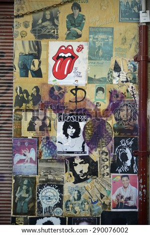 Tel Aviv, Israel - June 17, 2015: Wall with old music poster, grunge look on the street