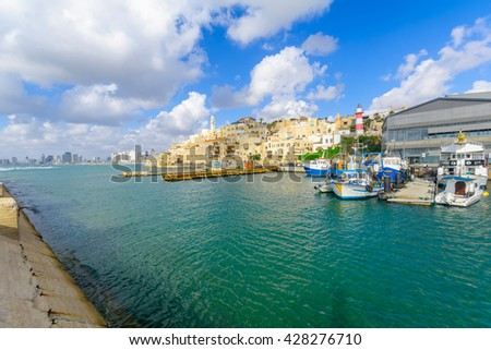 TEL-AVIV, ISRAEL - MAY 27, 2016: View of the Jaffa port and of the old city of Jaffa, with locals and visitors, now part of Tel-Aviv Yafo, Israel