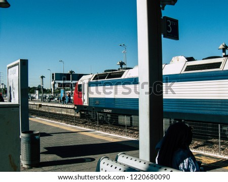 Tel Aviv Israel November 3, 2018  View of a train and locomotive at the Tel Aviv University train station in the afternoon #1220680090