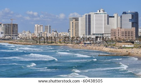 Tel-Aviv seashore as seen from old Jaffa. Israel.