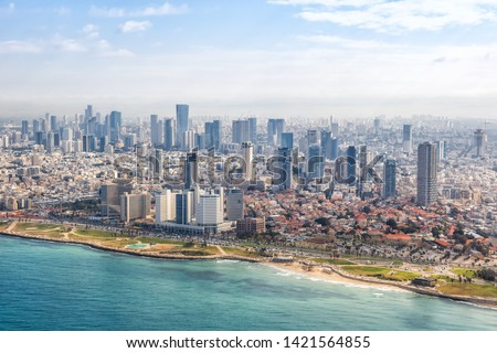 Tel Aviv skyline beach aerial view photo Israel city Mediterranean sea skyscrapers photography Stock fotó ©
