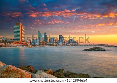 Tel Aviv Skyline. Cityscape image of Tel Aviv, Israel during sunset. Stock fotó ©