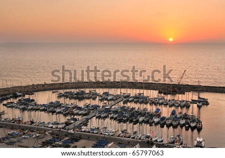 Tel-Aviv sunset over yacht harbor, Israel