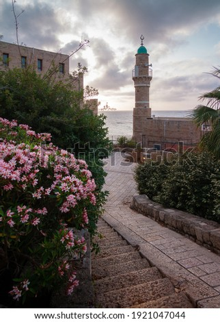 Tel Aviv-Yafo, Al bahar Mosque, descent to the sea Stok fotoğraf ©
