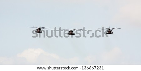 TEL NOF, ISRAEL -APRIL 16: Army Sikorsky CH-53  performing an exhibition exercise during the Israeli Independence day show on April 16, 2013 in Tel Nof, Israel.