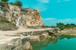 Telaga Biru, a limestone mining area that has now turned into a tourist destination