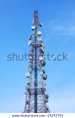 telecom tower and blue sky