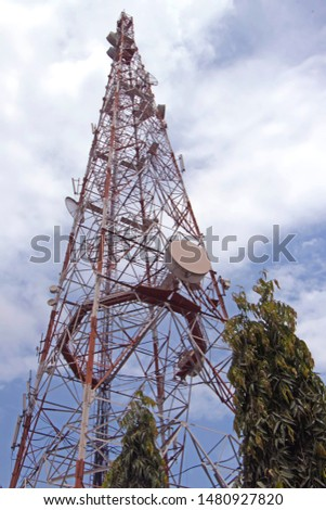 Telecom tower with antennas attached to it