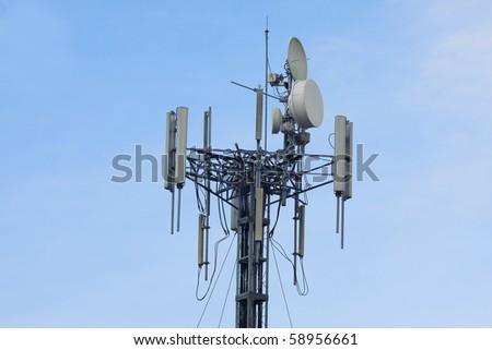 telecom transmitter on blue sky