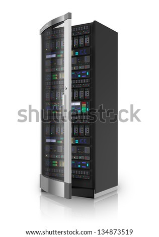 Telecommunication and computer cloud networking technology service concept: network server rack isolated on white background with reflection effect