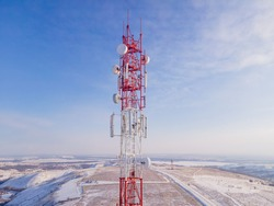 Telecommunication cell tower of 4G and 5G. Base Transceiver Station telecom, Wireless Communication Antenna Transmitter.