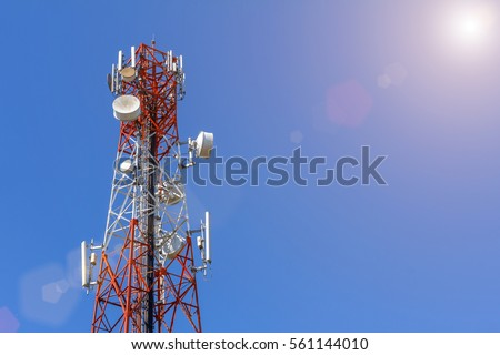 Shutterstock Telecommunication, Cellular or Radio antenna tower in blue sky with sunshine background for Industrial energy power, network technology, digital data transport and communication concept idea design.