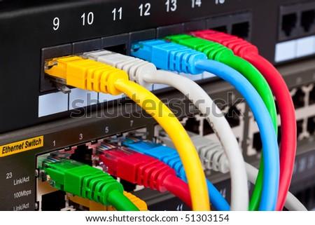 Telecommunication equipment in data center server room
