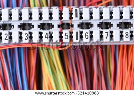 Telecommunication Equipment, Main Distribution Frame with Cables, Closeup #521410888