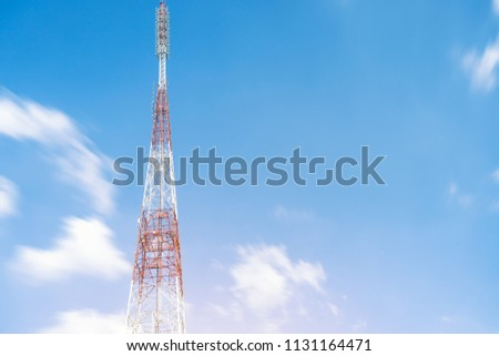 Telecommunication (5G,4G) post with copy space.Cellular telephone network. Signaling station.Development of communication in city.Digital wireless connection system.Antenna. Technology #1131164471