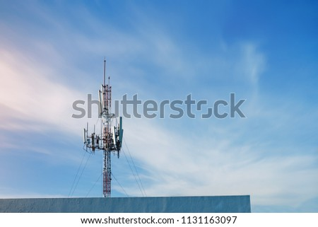 Telecommunication (5G,4G) post with copy space on building.Digital wireless connection system. Signaling station.Cellular telephone network.Development communication .Antenna.Technology #1131163097