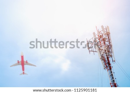 Telecommunication GSM (5G,4G) post  and plane on sky background.Concept of network connectivity and signaling around the world.Digital cellular telephone.Antenna.Communication.High technology. #1125901181