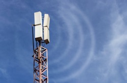 Telecommunication mast or mobile tower with antennas transmits waves