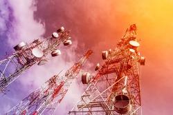 Telecommunication mast TV antennas wireless technology with blue