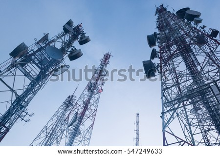 telecommunication  mast TV antennas wireless technology with blue sky in the morning - Shutterstock ID 547249633