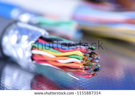 Telecommunication multicolored cable close-up #1155887314