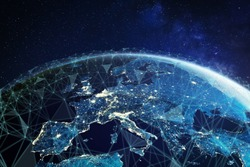 Telecommunication network above Europe viewed from space with connected system for European 5g LTE mobile web, global WiFi connection, Internet of Things (IoT) technology or blockchain fintech, 3d 8k