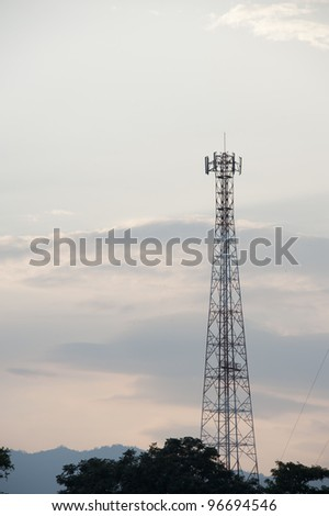 Telecommunication pillar in evening