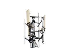 Telecommunication pole of 4G and 5G cellular. Base Station or Base Transceiver Station. Wireless Communication Antenna Transmitter. Telecommunication tower with antennas isolated on white background.