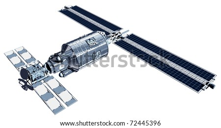 Telecommunication Satellite flying with solar panels reflecting Earth in mirror and isolation path included in illustration