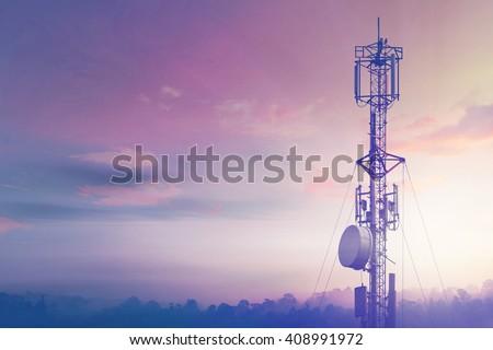 Telecommunication tower Antenna at sunset sky. - Shutterstock ID 408991972