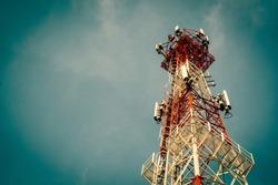 Telecommunication tower Antenna at sunset sky /Technology on the top of the telecommunication GSM (5G,4G,3G) tower