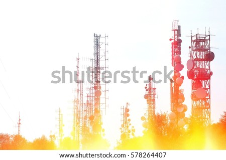 Telecommunication tower Antenna with fire and flames effects. Information concept. #578264407