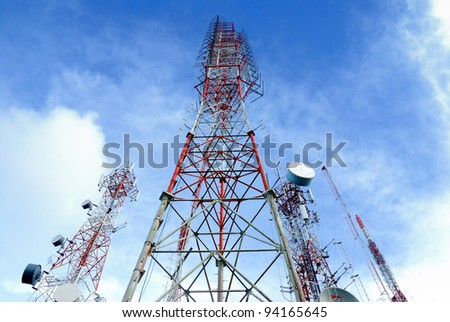 telecommunication tower  It is characterized by high towers made of steel. Used to transmit television signals.