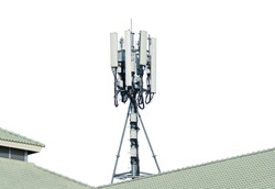 Telecommunication tower of 4G and 5G cellular. Cell Site Base Station. Wireless Communication Antenna Transmitter. Telecommunication tower with antennas on rooftop, white background.