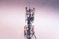 Telecommunication tower of 4G and 5G cellular. Cell Site Base Station. Wireless Communication Antenna Transmitter. Telecommunication tower with antennas .