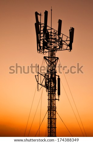 telecommunication tower - silhouette antenna broadcasting network frequency transmitter communication satellite